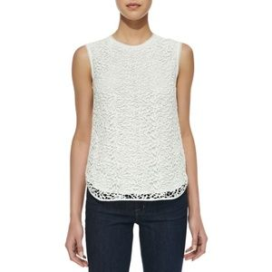 rebecca taylor ivory guipure lace-overlay tank top